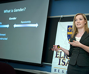 Psychological science major Alice Coyne, '13, presented research on the mental well-being of men who don't work outside the home.