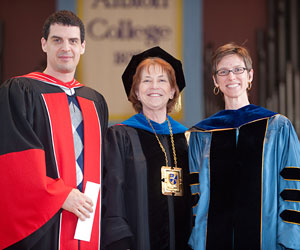 President Donna Randall (center) with history professor Chris Hagerman and English professor Jess Roberts, who were both chosen for the Teacher of the Year award by the student body.