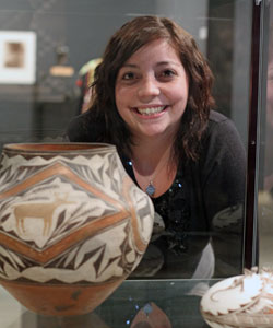 Gabby Vezzosi with Acoma pot