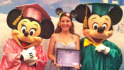 Alicia Rigoni received her diploma from Minnie and Mickey Mouse after completing her internship at Walt Disney World.