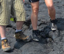 Two Albion College students walking on cooled lava during the 2013 Regional Geology trip to Hawaii.