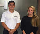 Anthony Waite, Taylor Shrader, Albion College students interning at Roush Enterprises, summer 2016.