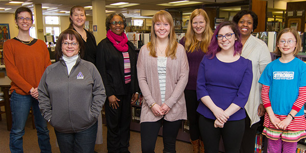 Members of The Big Read planning committee for Albion include, from left, Jess Roberts, associate professor of English; Kim Arndts, '84, assistant director of donor relations and stewardship and Albion District Library board member; Cindy Stanczak, interim director, Albion District Library; Mae Ola Dunklin, Albion NAACP and retired educator; Madeline Drury, '15; Tess Haadsma, '15; Diana Gomez, '15; and Jerri-Lynn Williams-Harper, superintendent, Albion Public Schools. At far right is Albion Community School sixth-grader Emmylou Christensen.