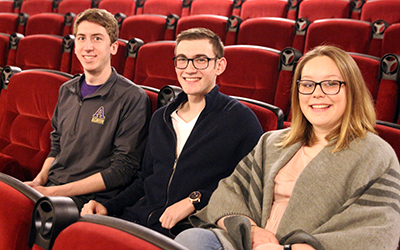 Lucas Lusk, Grant Smith and Taylor Karns (left to right) helped create the Albion Film Festival last spring as part of their Prentiss M. Brown Honors Program experience. They enjoyed it so much, they are back again with the second annual event February 13 at the Bohm Theatre.