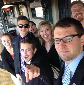 Bobowski (second from left, in sunglasses) with his Model UN teammates on a New York subway platform.