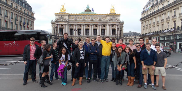 Albion and Sup de V students in front of Palais Garnier, home of the Paris Opera.