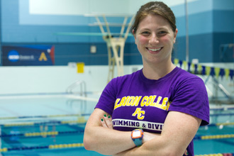 Alli Wilburn, '14, a biochemistry major from Rockford, Mich., is a member of Albion's swimming and diving and track and field teams.