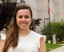 Baker at the Ingham County Courthouse. Baker is a senior is majoring in political science, with a concentration in the Gerald R. Ford Institute for Leadership in Public Policy and Service.She is the daughter of Jeffrey and Snezana Baker of Washington and a graduate of Romeo Community High School