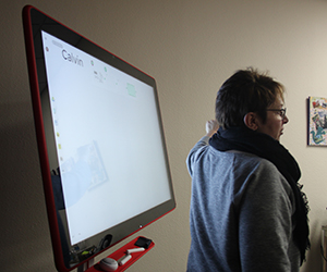 Albion College professor of art history Bille Wickre at the Google Jamboard