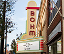 The Bohm Theatre marquee in downtown Albion, fall 2014.