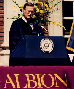 Vice President George HW Bush speaks at Albion College Commencement