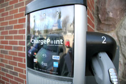 A 240-volt electric vehicle charging station has been installed outside Albion College's Science Complex.