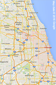 Google Maps image of Chicagoland area