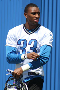 Chris Greenwood, '12, during Detroit Lions rookie orientation.