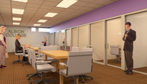 The John S. Ludington Career and Internship Center will be located on the lower level of Albion College's revamped Stockwell Library.