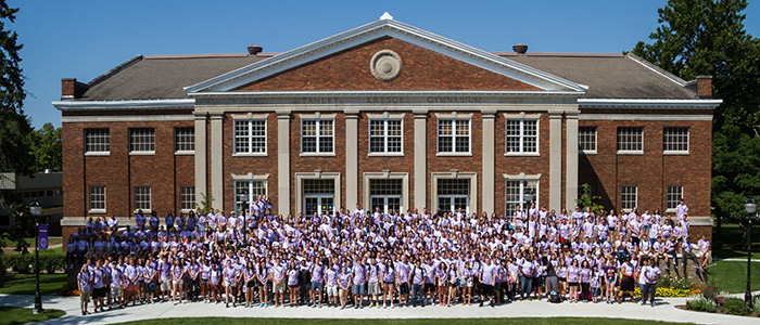 Albion College's Class of 2019 gathered for a group photo in front of Kresge Gymnasium during their orientation weekend last month.