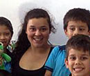 Education student Victoria Della Pia with students in Costa Rica