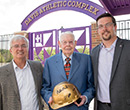 Albion College President Mauri Ditzler, Bud Davis and Athletic Director Matt Arend (left to right)