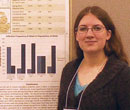 Allison McClish, '15, with research she presented at the 2014 Drosophila Research Conference