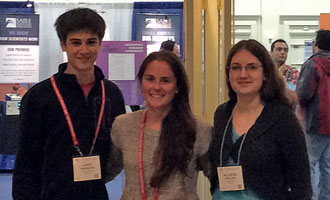Jack Manquen, Marissa Cloutier and Allison McClish at the Drosophila Research Conference.