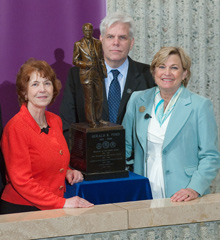 In March 2012, Ford Bales (right) joined President Donna Randall and Ford Institute Director Al Pheley for the unveiling of Albion College's President Ford maquette. The event took place at the Gerald R. Ford Presidential Museum in Grand Rapids, and the maquette, a one-third size replica of the statue on display in the U.S. Capitol Rotunda, sits outside the Ford Institute office in Robinson Hall.