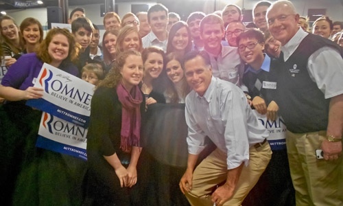 Ford Institute students with Mitt Romeny following a presidential campaign event in Albion, February 2012.