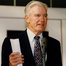 Frank Bonta speaks during the dedication ceremony of the Bonta Admission Center in 1996.