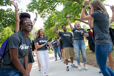 First-Year Experience student mentors greet Albion's new students August 23 following the Matriculation ceremony.