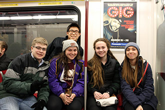 From left: Noah Pappas, Matt Stander, Megan Bricely, Leah Zawerucha and Rachel St. Pierre on the Toronto subway.