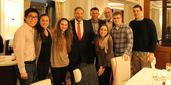 From left: Matt Stander, Megan Bricely, Leah Zawerucha, Tom Mulcair (of Canada's New Democratic Party), Hassan Yussuff (Canadian Labour Congress president), Rachel St. Pierre, Patrick McLean, Noah Pappas and Chris Hagerman, a former Albion College history professor now teaching in Ottawa.