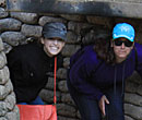 Alyssa Wright, '16,  and Emma Stapley, '16, in reconstructed German Trenches, Vimy Ridge