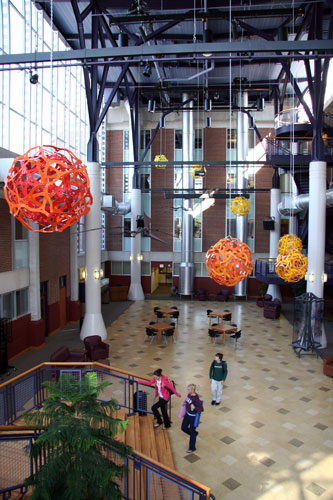 The George Hart sculptures hanging from the atrium ceiling.