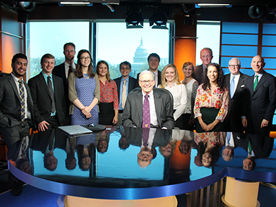 Ford Institute students make important connections during the annual senior trip to Washington, D.C. Above, 2017 seniors visited the C-SPAN studio with FCC chief policy counsel John Hunter, '69 (seated).