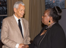 Civil rights activist Julian Bond with JoAnn Watson, retired Detroit City Councilwoman.