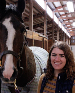 Kylie Heitman has been doing aroma therapy research with some of the Albion College horses.