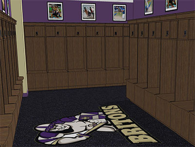 A concept rendering of a bank of renovated lockers in the Dow Center.