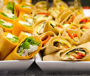 Freshly prepared wraps at the ready in Lower Baldwin dining hall.