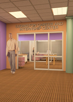 The entrance to the Ludington Career and Internship Center.