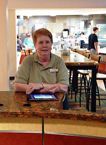 Mary Johnson (pictured in 2014) greeted students entering Lower Baldwin dining hall for more than 35 years.