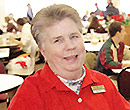 Mary Johnson, who worked at the entrance of Albion College's Lower Baldwin Dining Hall for nearly 40 years.
