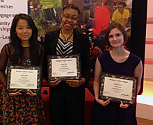 Sandra Myint, Wynter Pitts and Emily Zimmer at the Michigan Campus Compact Recognition Ceremony