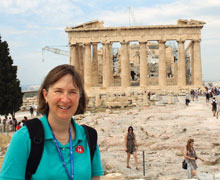 Jocelyn McWhirter on a research trip to Athens, Greece, for Rejected Prophets