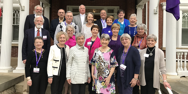 Members of Albion College's Class of 1964 at their 55th reunion at the President's Home, May 2019.