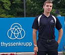 Mitchell McCord, '18, at thyssenkrupp's Southfield, Mich., office during his summer 2016 internship.