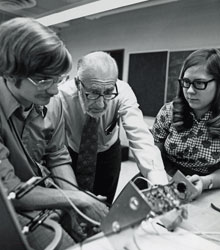 Howard Pettersen in class with students