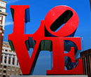 The famous LOVE sculpture in the Center City section of Philadelphia, Pennsylvania.