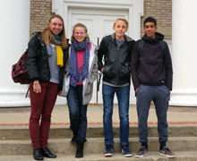 Instructor and students from Albion's sister city, Noisy-le-Roi, France, in Albion for the Albion College Piano Festival