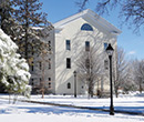Dickie Hall/Kellogg Center in background, Albion College quad, winter