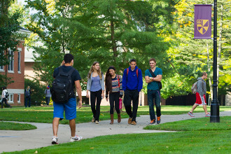 Students walking on the Albion College quad.