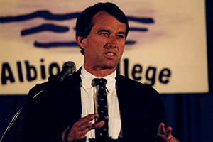 Robert F. Kennedy, Jr. speaks at Albion College in 2000.